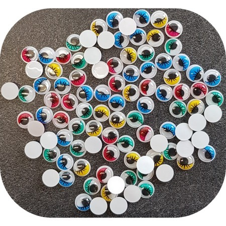 Lot de 50 Yeux ronds, diam. 15 mm, à pupille mobile, 5 couleurs assorties, en plastique, 25 paires avec cils à coller