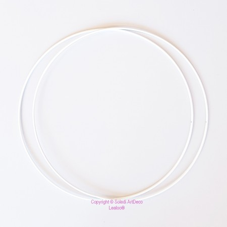 Set of 2 white metal circles Diameter 40 cm for lampshade, epoxy rings for Dreamcatcher