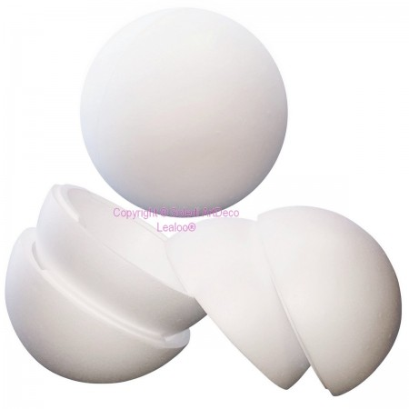 Lot of 3 separable polystyrene balls diameter 30 cm, Hollow sect spheres Styropor white density pro