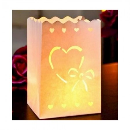 Set of 10 lanterns Heart with a little knot, made of fireproofed paper, 16 x 11 x 11 cm