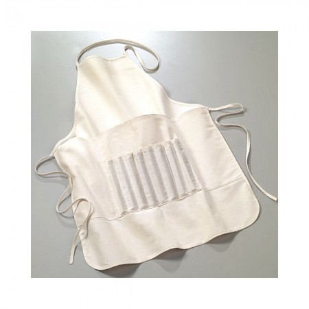 Apron diy made of fine natural cotton, with pocket and compartments for brushes, for child, 60 cm x 50 cm