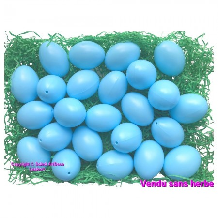 Large Set of 25 Plastic Eggs, Light blue, High. 6 cm, ideal for Easter egg hunt, non separable, with supsension hole