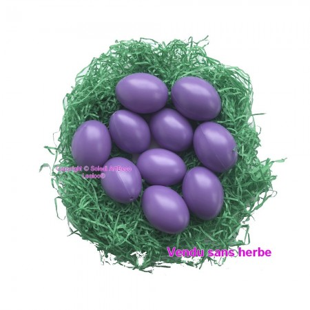 Set of 10 plastic easter eggs, purple, height 6cm
