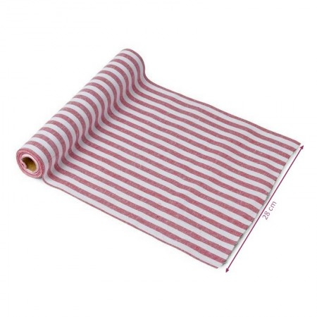 Table Runner in Cotton, Navy and White with stripes, size 28cm x 5m, maritime table decoration