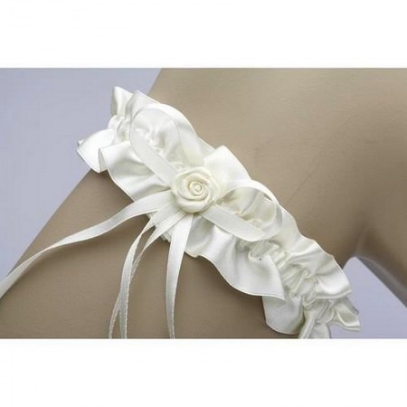 White Satin Wedding Garter, 17 cm, Ribbon and Flower, Wedding Accessory