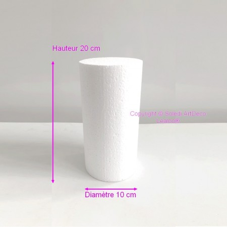 Polystyrene Cylinder Diameter 10cm x Height 20cm, Column in Styropor White, Pro Density, 28 kg / m3