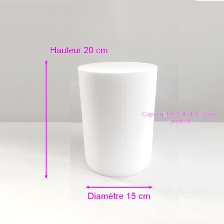 Polystyrene Cylinder Diameter 15cm x Height 20cm, Column in Styropor White, Pro Density, 28 kg / m3
