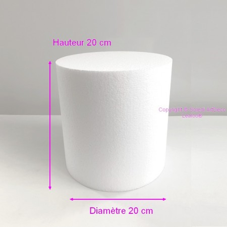 Polystyrene Cylinder Diameter 20cm x Height 20cm, Column in Styropor White, Pro Density, 28 kg / m3