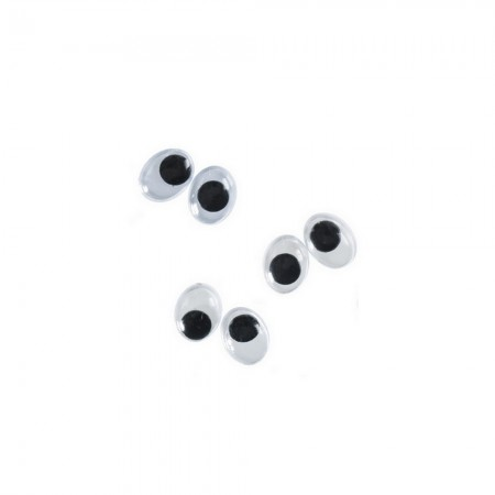 Lot of 6 Oval Wobbly Eyes 15x10mm, with mobile pupil, plastic, 3 pairs to stick
