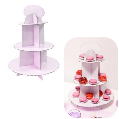 3-Stage Cupcake Display Stand Blue, h. 39.5 cm, cake rack for baby shower
