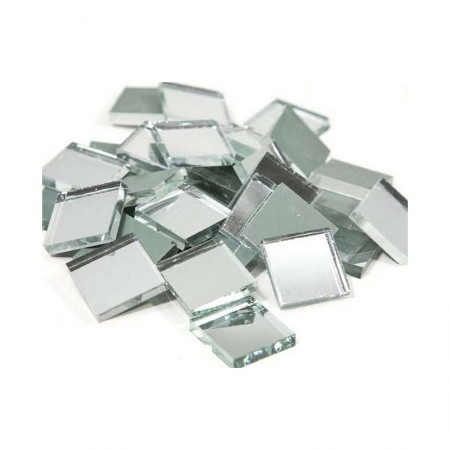 Lot of about 65 pieces, Square mosaic mirror, 20 x 20 mm, thickness. 3 mm