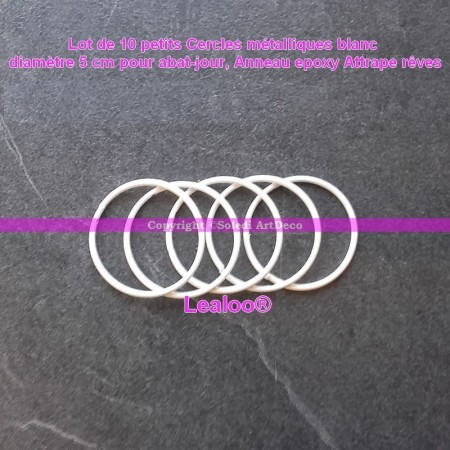 Set of 5 white metal circles Diameter 5 cm for lampshade, epoxy wire ring for Dreamcatcher