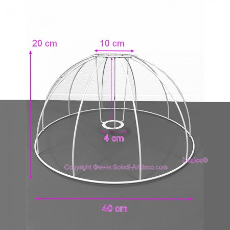 Carcass Lampshade Empire style of 15 cm, Armature shape cone with 6 branches epoxy anticorrosive material, for E14