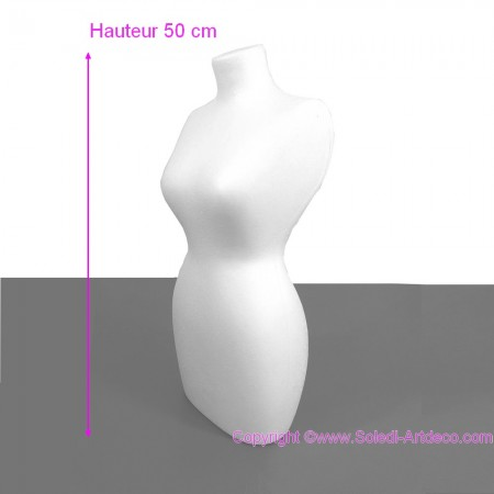 Polystyrene form female bust, solid, height 50 cm, width 21 cm, high density