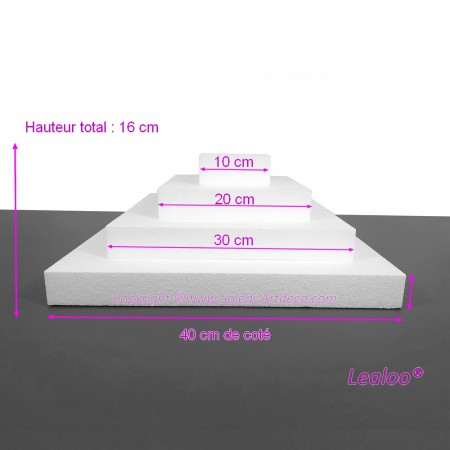 Square display stand made of polystyrene 16 cm high, Base 40cm to 10cm, 4 plinths 4cm high