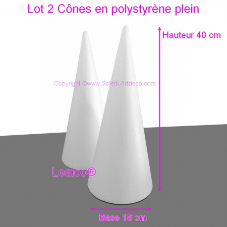 Set of 2 polystyrene cones 40cm high, Base diameter 18cm, white