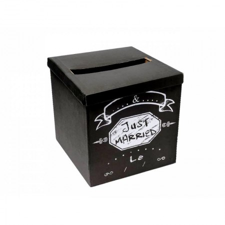 Black Square Slate Effect Cardboard Urn Just Married, 30 x 30 x 30 cm to unfold