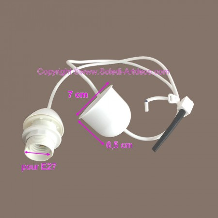 White electrical cable with E27 socket, for lamp suspension, 1 m long cable, with socket cover