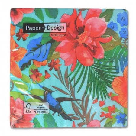 Set of 20 paper napkins motif Flamingo and tropical garden on a beige background, 33 x 33 cm