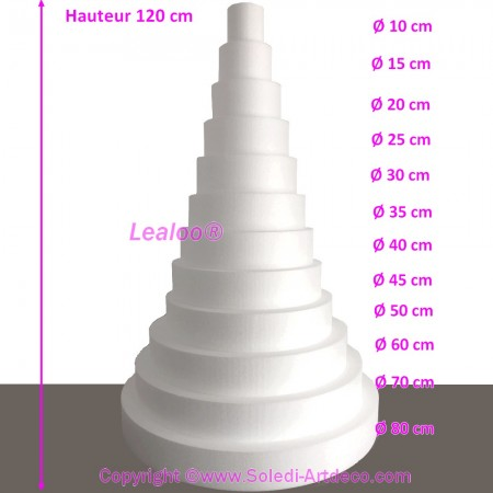 Mega Polystyrene Disk Shape Dummy Cake Eiffel Tower, 120 cm total height, 12 slices, high density 28 kg/m3