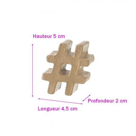 Small Hashtag Paper Sign, 3D Cardboard Sharp Symbol, 5x4.5x2 cm