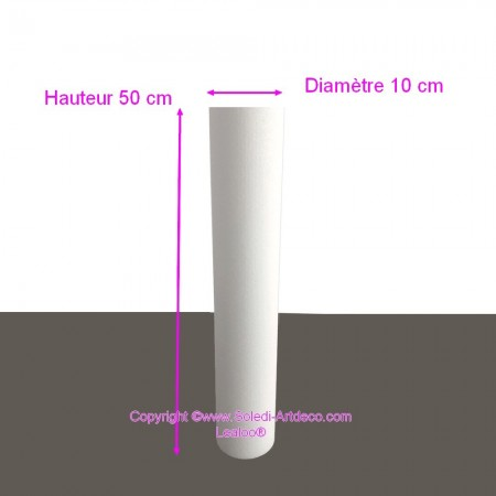 Polystyrene Cylinder Diameter 10cm x Height 50cm, Column in Styropor White, Pro Density, 28 kg / m3