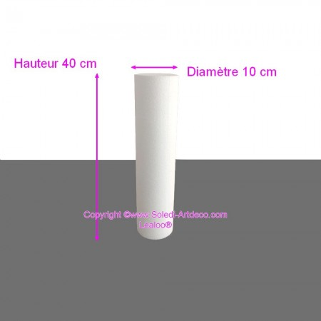 Polystyrene Cylinder Diameter 10cm x Height 40cm, Column in Styropor White, Pro Density, 28 kg / m3