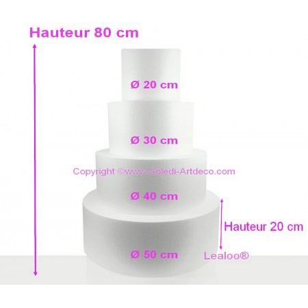 Polystyrene Disk Shape Dummy Wedding Cake, 80 cm total height, Base Ø 50cm to 20cm, 4 discs 20cm high