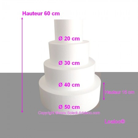 Polystyrene Disk Shape Dummy Wedding Cake, 110 cm total height, 70 cm base diameter, high density