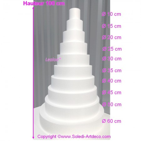 Polystyrene Disk Shape Dummy Wedding Cake, 100 cm total height, 60 cm base diameter, high density
