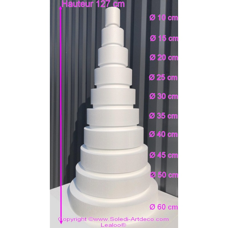 Polystyrene Disk Shape Dummy Wedding Cake, 127 cm total height, 60 cm base diameter, high density
