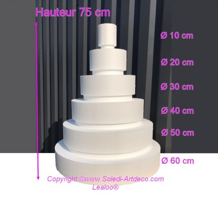 Polystyrene Disk Shape Dummy Wedding Cake, 75 cm total height, 60 cm base diameter, high density