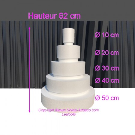 Polystyrene Disk Shape Dummy Wedding Cake, 62 cm total height, 50 cm base diameter, 5 dummies
