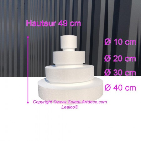 Polystyrene Disk Shape Dummy Wedding Cake, 49 cm total height, 40 cm base diameter, 4 dummies