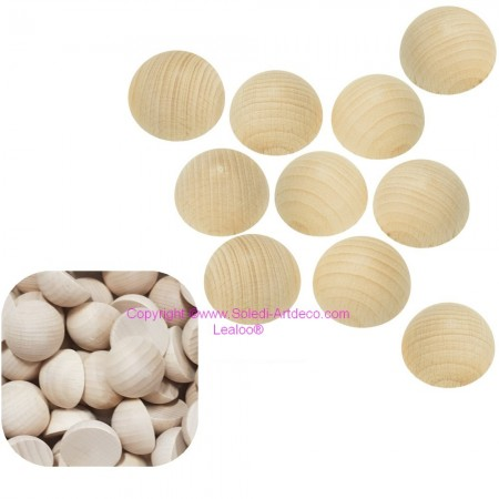 Small batch of 10 hemispheres of 30 mm in raw beech wood, untreated