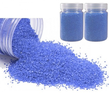Lot de 800 gr de Sable décoratif coloré Bleu Royal, de 0,60mm à 1mm,  pour Déco de table, Bougeoir, Vase
