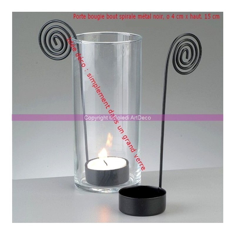 Lot of 5 Black metal spiral end candle holder, base diameter 4 cm x height. 15 cm, for tealight