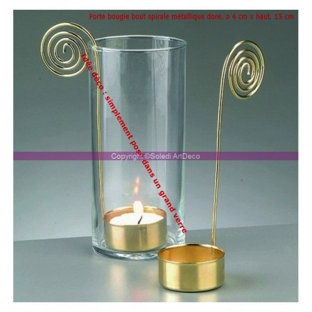 Lot of 5 golden metal spiral end candle holder, base diameter 4 cm x height. 15 cm, for tealight