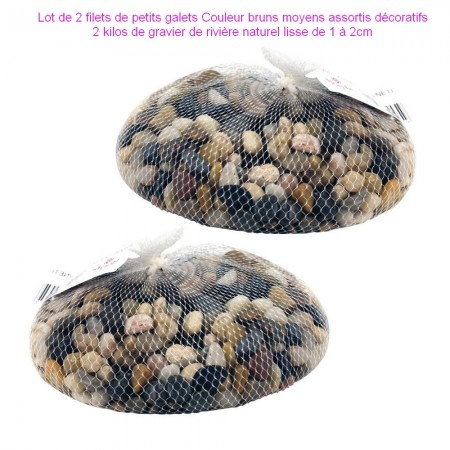 Set of 2 bags of brown pebbles assorted decorative, 2 kilos of natural river gravel smooth from 1 to 2cm