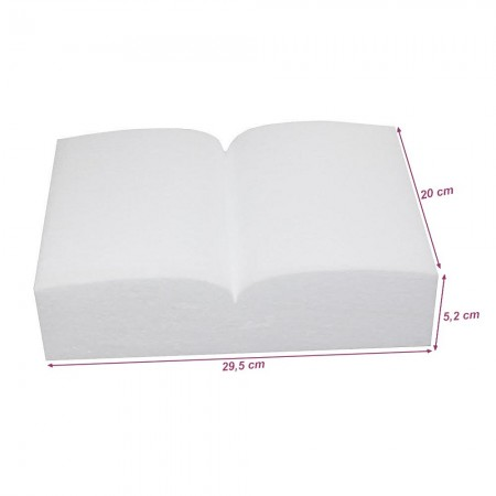Open polystyrene book, size 20.5 cm x thickness. 5 cm, higher density to customize