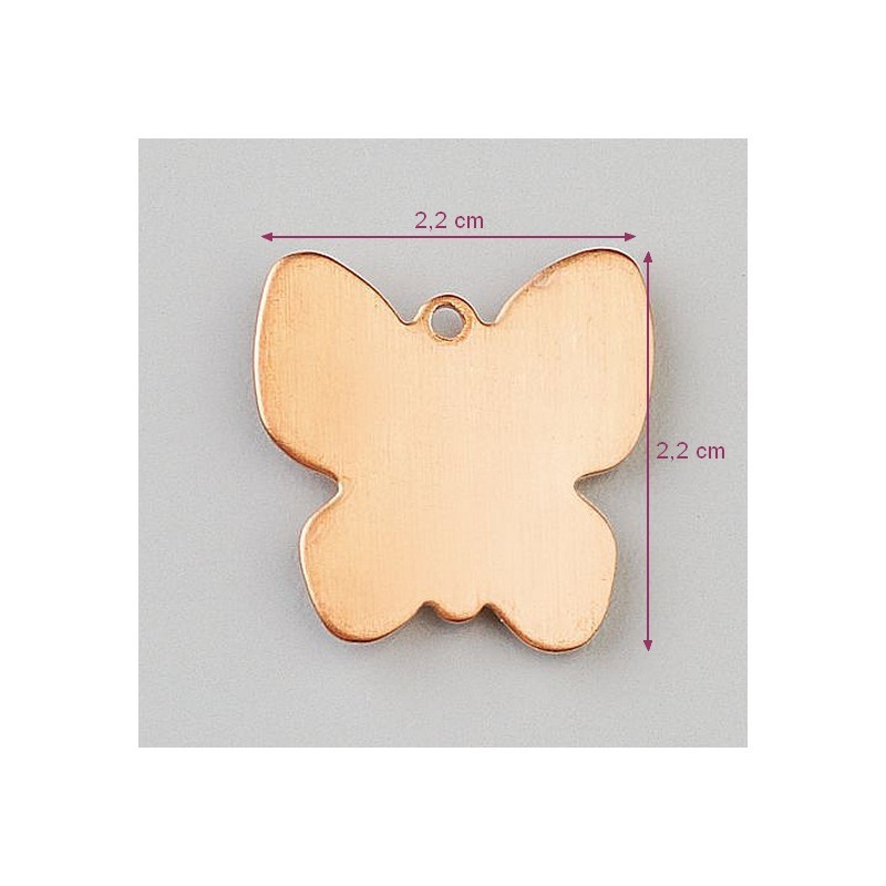 Set of 10 Copper Pendants, Butterfly 22 x 22 mm, 0.8 mm thick, for enamelling
