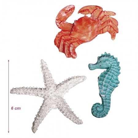 Set of 4 adhesive beige sea stars, Resin, size 4.5 cm, marine decoration to stick