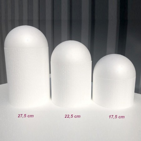 Styropor polystyrene dome, base Ø 10 cm, height to choose, Styropor bird cage white density Pro