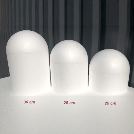Styropor polystyrene dome, base Ø 15 cm, height to choose, Styropor bird cage white density Pro