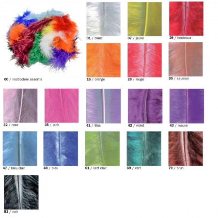 Set of about 40 Marabou feathers, Length 8-10 cm, 4 g. (2 bags), for decoration
