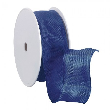 Ruban en Satin simple face, Bleu marine, largeur 40 mm, longueur 23 m, rouleau décoratif