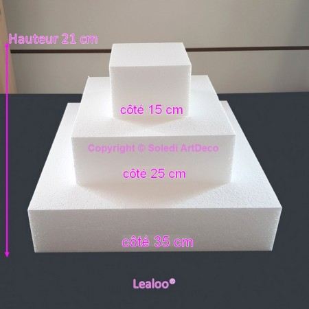 Polystyrene Disk Shape Dummy Cake Square, 35 cm base, 21 cm total height, 3 slices, high density 28 kg/m3