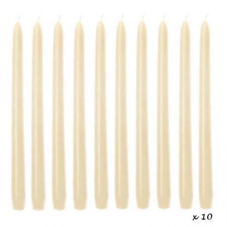 10 Ivory Candles, Candlestick 25 cm, candle torch, diam. basic 2,2cm