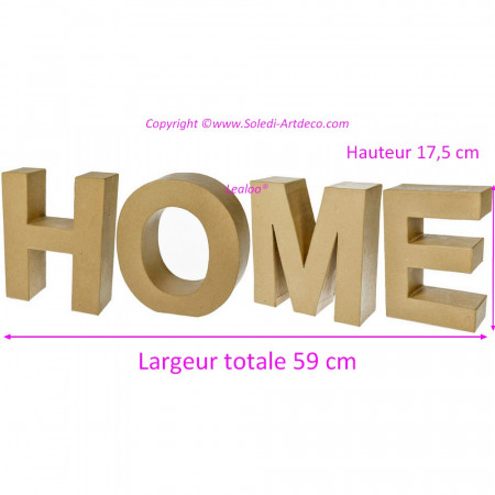 HOME decoration in papier mache, size 59 x 17.5 x 5.5 cm, 3D letters to customize