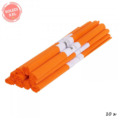 Lot of 10 rolls, crepe paper, orange, 50 cm x 250 cm, 31 g / m²